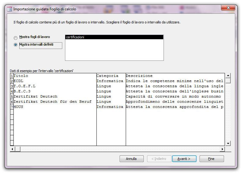 Figura 3: la prima schermata della finestra Importazione guidata Foglio di calcolo