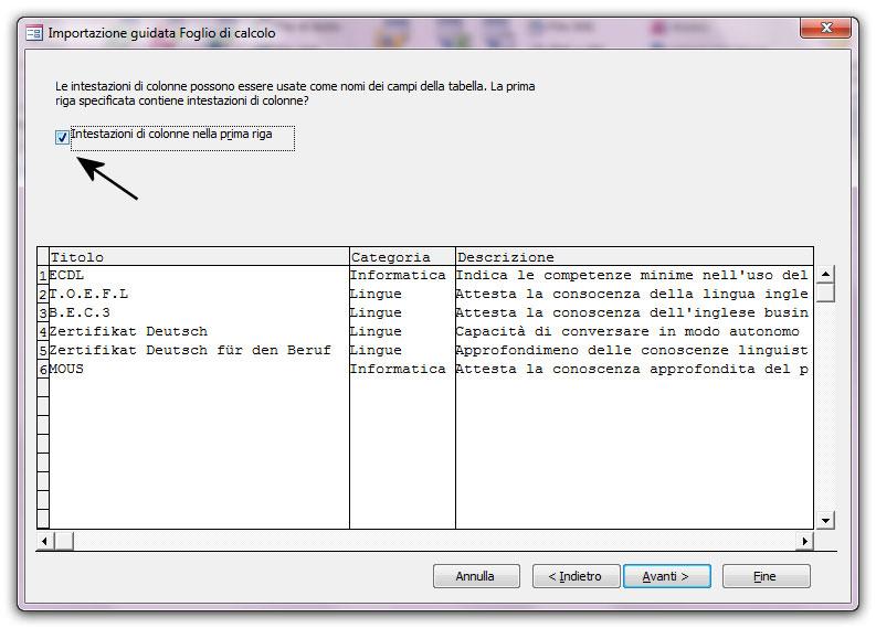 Figura 4; la seconda schermata della finestra Importazione guidata Foglio di calcolo