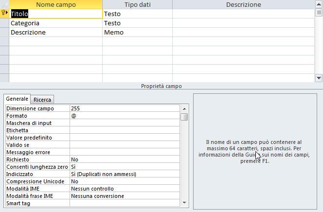 Figura 7: la tabella creata con l'importazione dei dati esterni