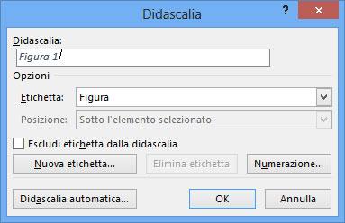 Figura 1: la finestra Didascalia permette di aggiungere una didascalia a una Figura, una Equazione o una Tabella