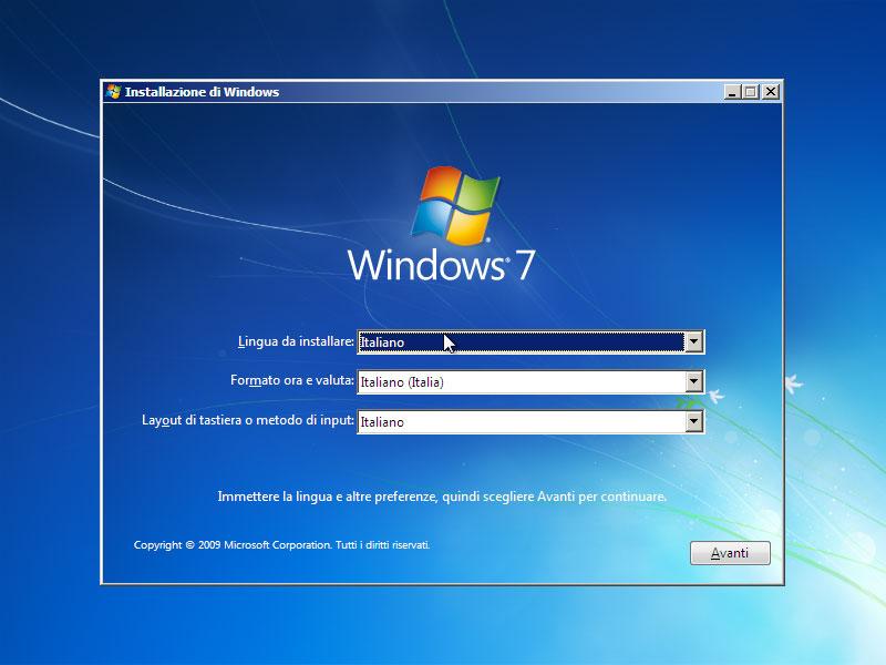 Figura 1: la schermata di configurazione del setup di Windows 7