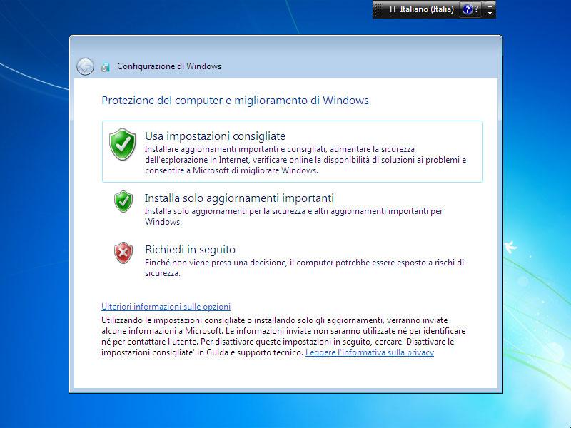 Figura 10: scegliendo le impostazioni consigliate, si avrà la certezza di mantenere sempre il sistema operativo aggiornato