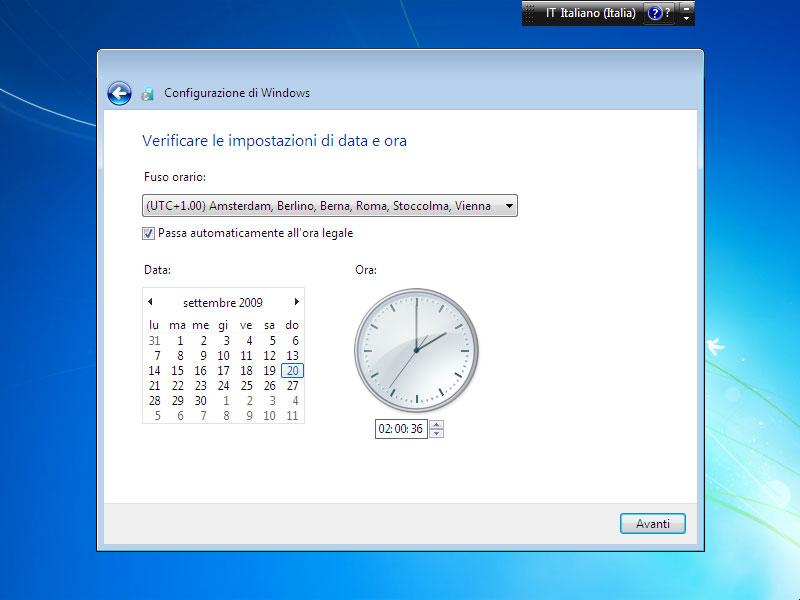 Figura 11: le impostazioni dell'ora e della data dovrebbero essere già impostate correttamente