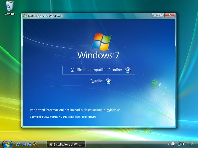 """Figura 13: la prima finestra della procedura di aggiornamento è identica alla seconda dell'installazione """"pulita"""""""
