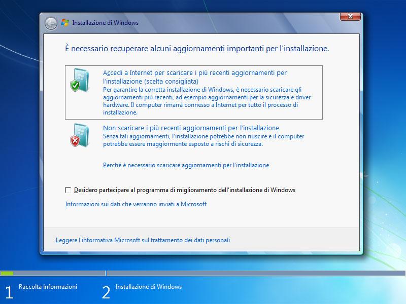 Figura 14: il programma di installazione può scaricare aggiornamenti sulla compatibilità del sistema