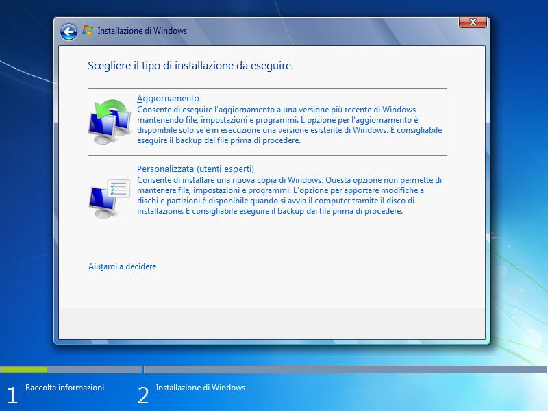 Figura 16: l'aggiornamento converte Windows Vista a Windows 7