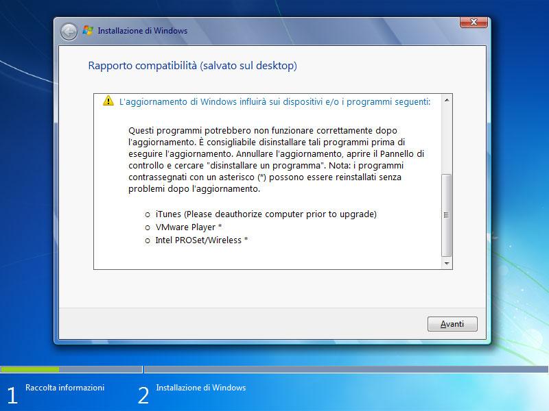 Figura 17: molti problemi potrebbero derivare da software non compatibile con Windows 7