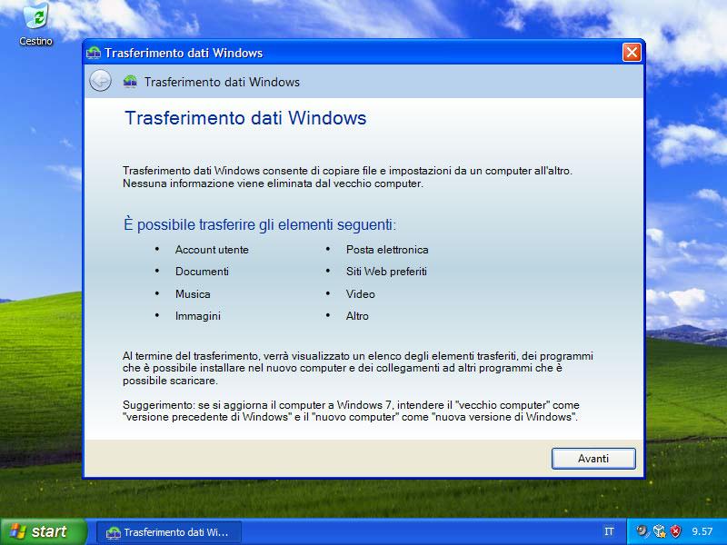 Figura 18: Migwiz non è altro che il programma Trasferimento dati Windows
