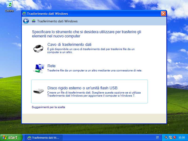 Figura 19: il trasferimento dei file dovrà avvenire attraverso un disco esterno