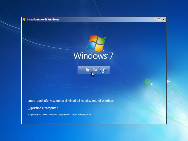 Figura 2: la schermata di avvio dell'installazione di Windows 7