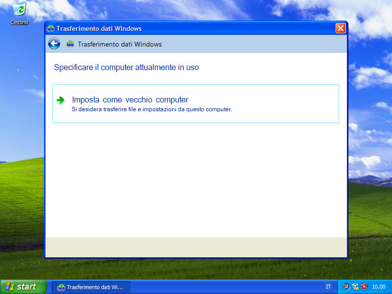 Figura 20: il computer con Windows XP deve essere impostato come vecchio computer