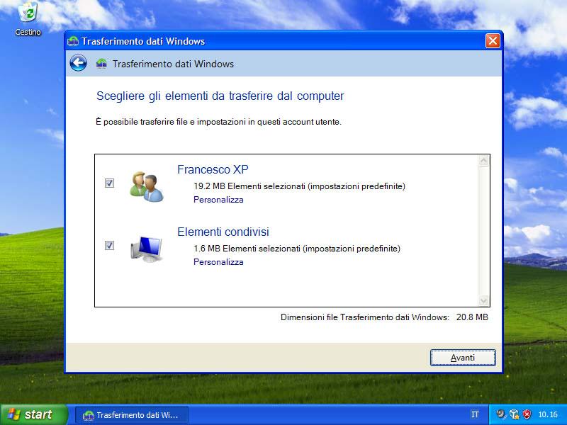 Figura 21: si possono importare le impostazioni e i file di uno o di tutti gli utenti
