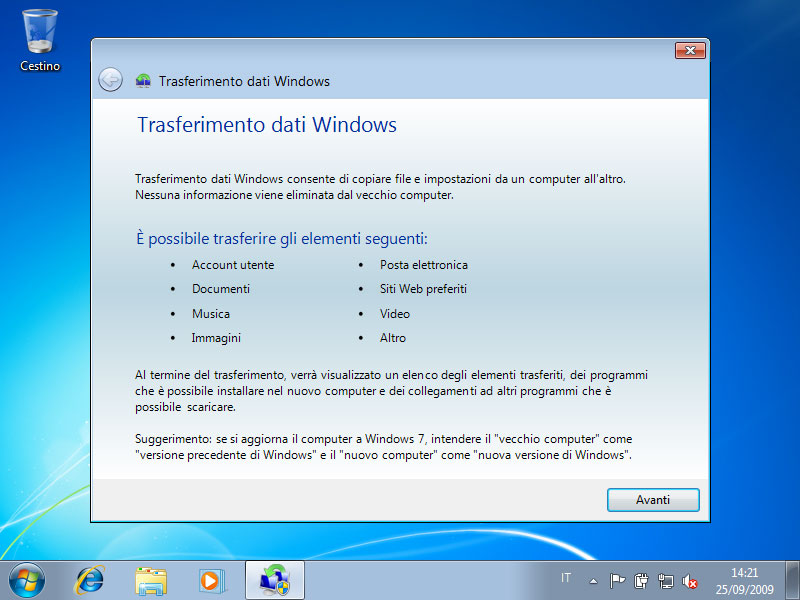 Figura 24: da Windows 7 si deve avviare il programma Trasferimento dati Windows