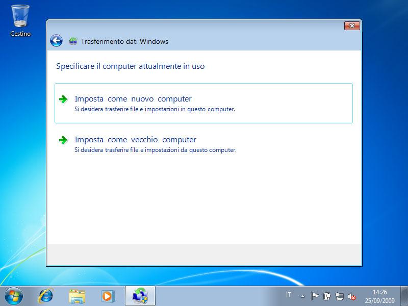 Figura 26: il computer nuovo è il computer verso cui trasferire i file