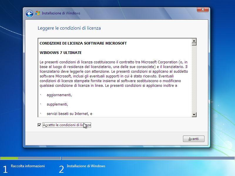Figura 3: si ricordi che Windows 7 può essere installato solamente su un computer