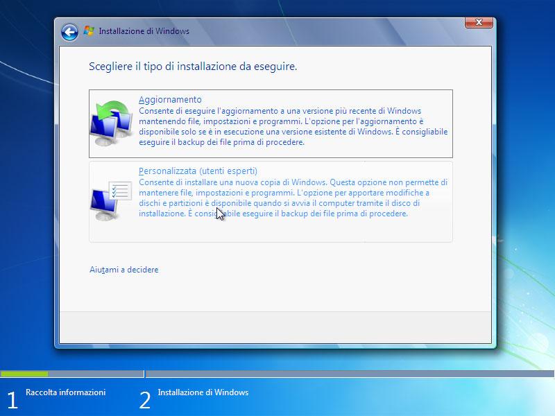 Figura 4: l'installazione personalizzata permette di scegliere la partizione su cui installare i file