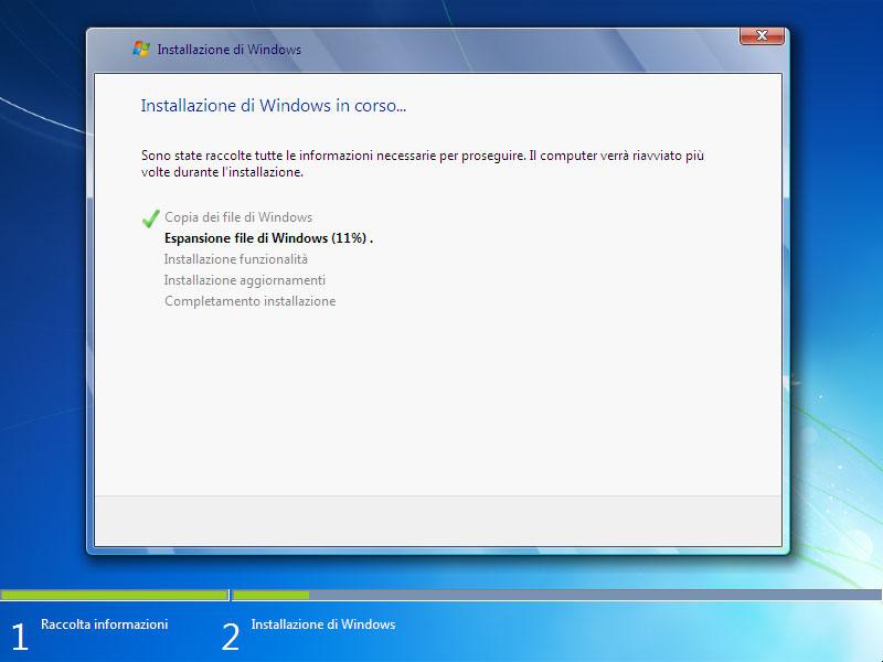 Figura 6: il sistema si riavvierà alcune volte prima di completare l'installazione dei file