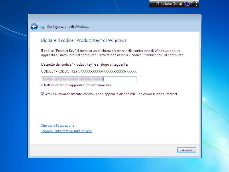 Figura 9: l'inserimento del codice di attivazione di Windows può essere anche eseguito dopo, a sistema installato