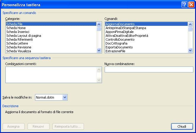 Figura 15: la finestra Personalizza tastiera di Word