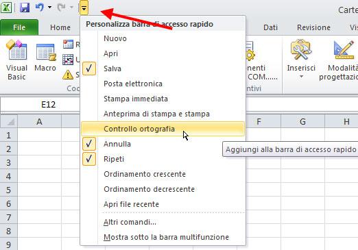 Figura 17: personalizzare la barra di accesso rapido