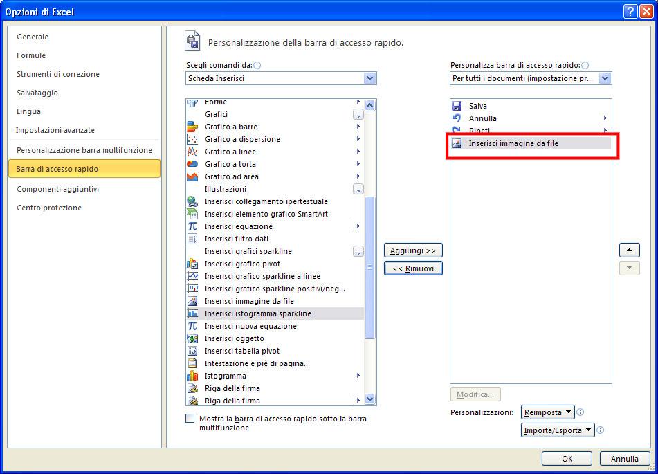 Figura 19: il comando Inserisci immagine da file pronto per essere aggiunto alla barra di accesso rapido