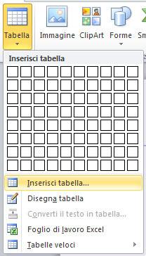 Figura 2: il menu attivato dal pulsante Tabella