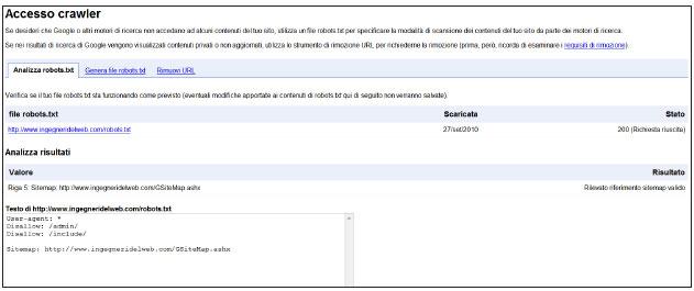 Figura 1: gestione del file Robots.txt dagli strumenti di GWT