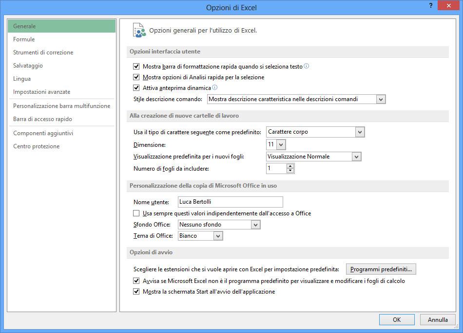 Figura 8: la finestra Opzioni di Excel