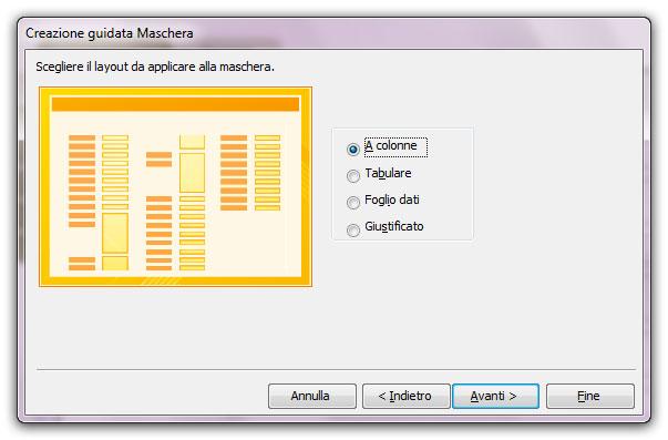 Figura 7: la seconda schermata della finestra Creazione guidata Maschera