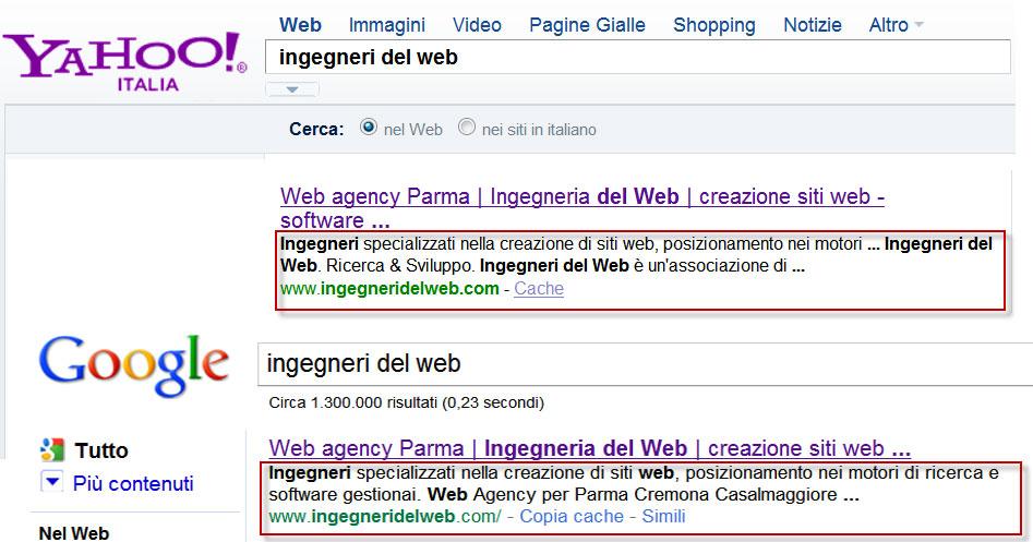 Figura 1: esempio di come il tag <description> venga utilizzato da Google e Yahoo! all'interno della SERP