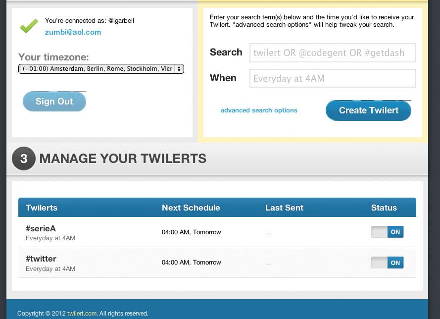 Figura 2: Twilert vi informa via mail quando venite nominati su Twitter