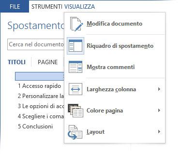 Figura 3: il menu Visualizza consente di accedere alle opzioni di lettura