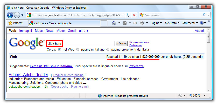 "Figura 3: la ricerca ""click here"" ha una elevata link popularity"