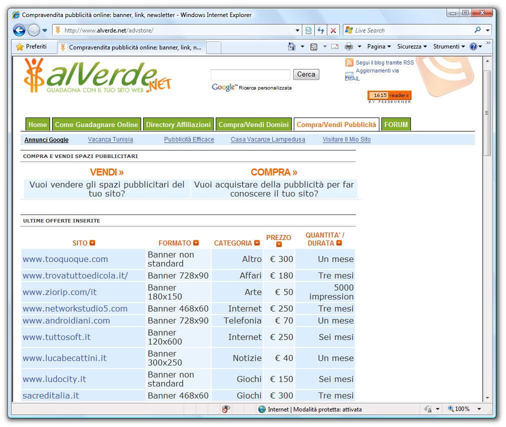 """Figura 4: Il sito web """"Al verde"""" (www.alverde.net) è una interessante risorsa italiana dove consultare offerte di vendita per link e domini"""
