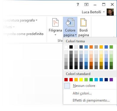 Figura 1: impostare un colore di sfondo