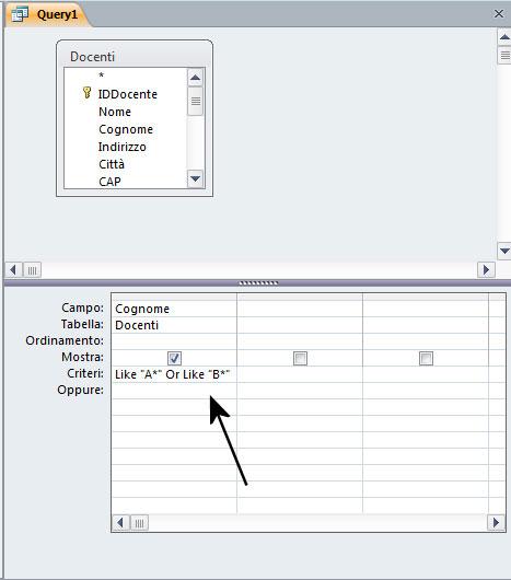 Figura 15: una query che utilizza l'operatore Or