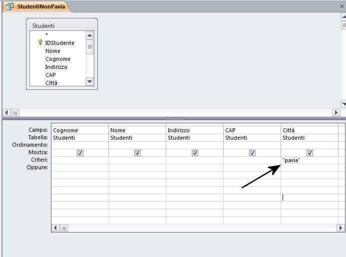 Figura 9: una query con un criterio basato su una stringa di caratteri