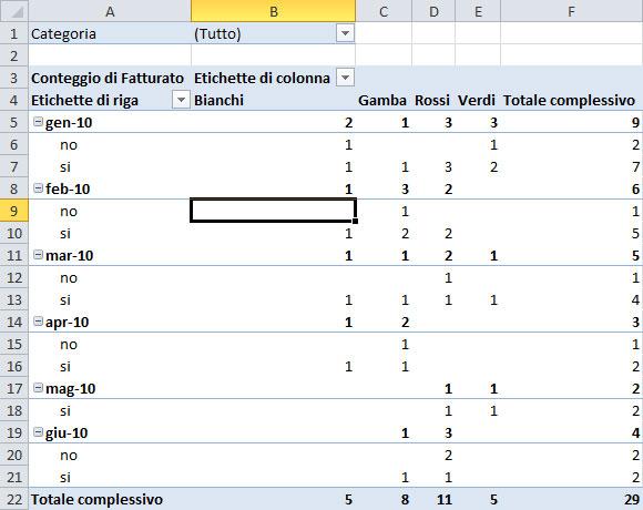 Figura 6: i dati riepilogati con la funzione Conteggio