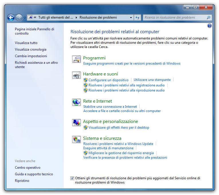Figura 1: la finestra Risoluzione dei problemi di Windows con le aree che è in grado di monitorare