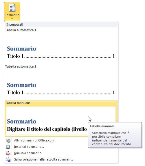 Figura 1: il menu del pulsante Sommario