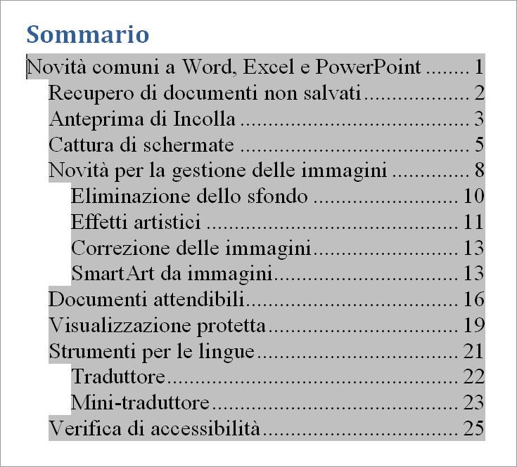 Figura 3: un documento con il sommario