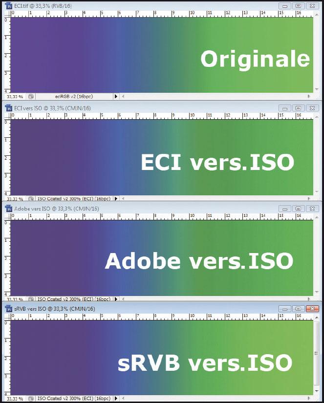 Figura 4: l'alterazione dei colori blu e verde causata dalla conversione del profilo ICC di uno spazio RGB verso uno spazio CMYK