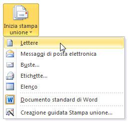 Figura 5: il menu del pulsante Inizia stampa unione