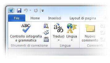 Figura 2: la sezione lingua di Microsoft Word 2010