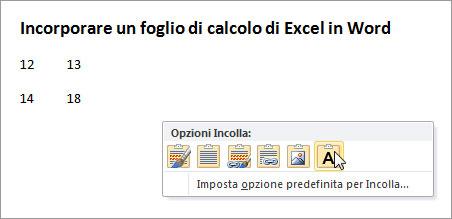 Figura 11: opzioni Incolla per una selezione di celle copiata da Excel