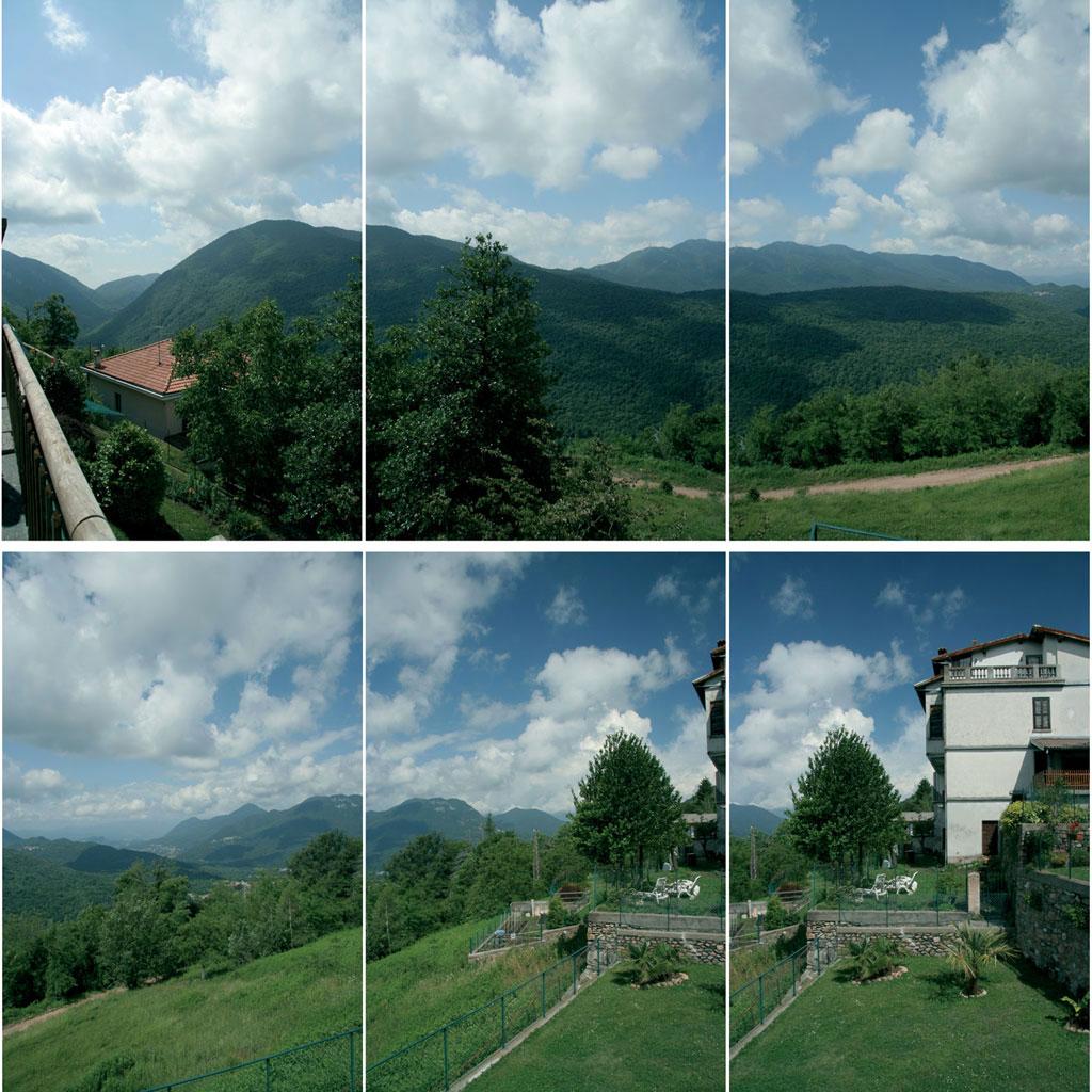 Figura 1: i sei scatti necessari per creare una immagine panoramica: sono evidenti le aree comuni tra un fotogramma e quello successivo; queste sovrapposizioni consentono al programma un facile allineamento.