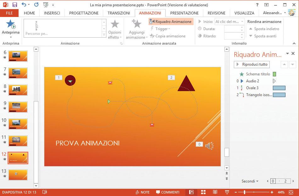 Figura 2: la diapositiva di esempio, con le due animazioni e il clip audio