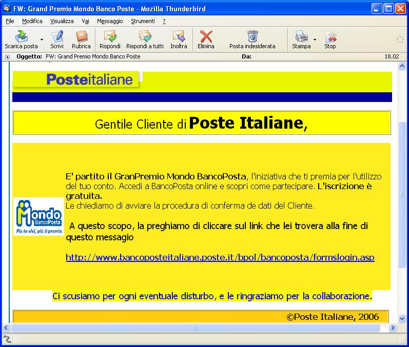 Figura 1: una e-mail di phishing che si spaccia per Poste Italiane
