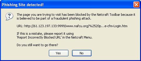 Figura 10: la barra di Netcraft ha rilevato un sito truffaldino