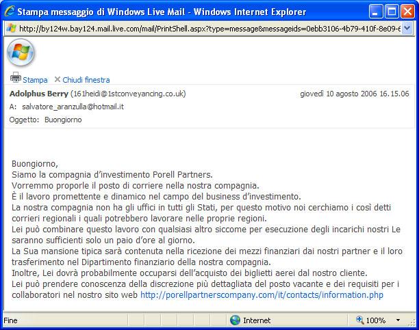Figura 15: Una delle tante e-mail inviate dai truffatori per adescare persone da coinvolgerenel riciclaggio di denaro truffato